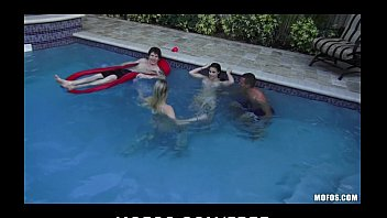 Two slutty skinny dipping girlfriends start orgy at a pool party 10 min