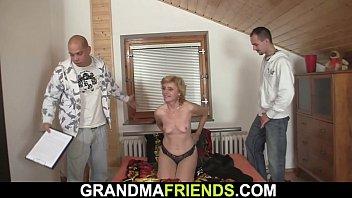 Skinny blonde woman spreads legs