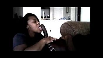 Ebony sucks BBC on hidden cam