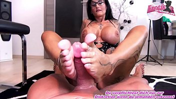 german femdom big tits tattoo amateur milf masturbate cock with feet until orgasm