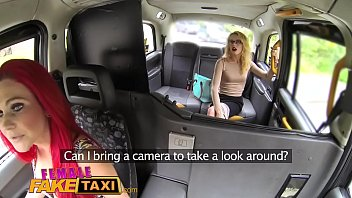 Female Fake Taxi Lesbian sex toy play and pussy licking orgasms in UK flat thumbnail