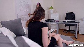 Lesbian Masseuse Angelina Brill gives Samantha Bentley Anal Treat