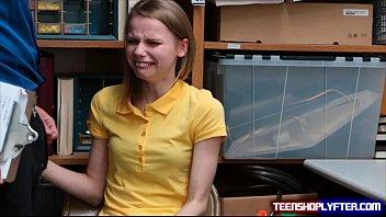 Skinny teen shoplyfter Catarina Petrov sob and ...