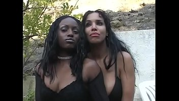 Mega hugh tits Two ebony honeys soleil and jada fire share one hard cock in front of the fireplace