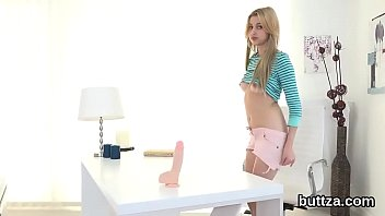Striking petite cutie gets her wet snatch and tiny butthole rode 5 min