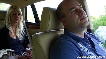 Hot blonde teen gives BJ for a ride home