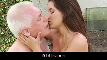 Petite hot mistress masturbates while fucking cheating gray grandpa