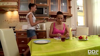 College cuties Demetris and Leda suck a big fat cock 69 in the kitchen