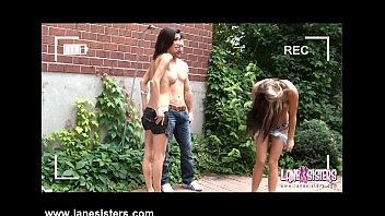 Sexy 2 guys and 2 girls - Two sexy girls blow guy in the backyard