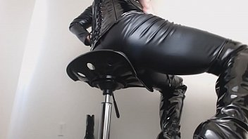 Streaming Video ASMR Creaking PVC Thigh High Boots Domme Worship - XLXX.video