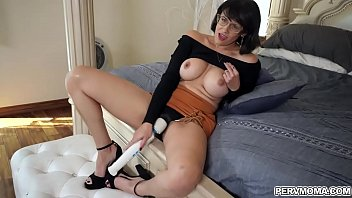 Stepmom Penny Barber is horny so she start toying her MILF pussy while her stepson is watching her. She wants more and gave him a sloppy blowjob.