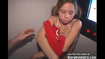 Blonde teen Amber taken to the gloryhole by Dirty D 7 min