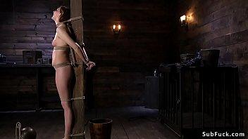 Sticks bondage Hairy brunette slave gets stick on heels