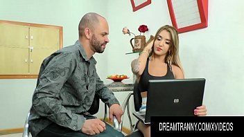 Tutors Big Cock Makes Busty Shemale Vitoria Neves Cum All Over Herself