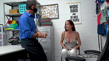 MILF pays for golden watch with pussy at the security office thumbnail