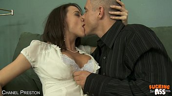 Busty Chanel Preston suck and ride anally a huge dick