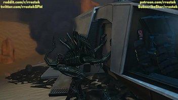 Samus Aran on a strange Alien Planet being fucked by Xenomorphs hardcore 3D Animation