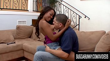 Black Beauty Karmin Renee Gets Her Pussy Stretched by a Big White Cock