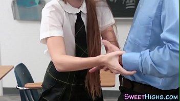 Uniformed teen gargles