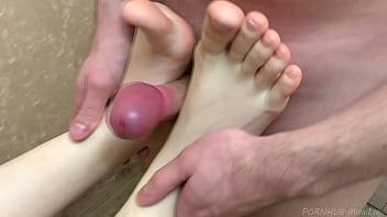Amazing Footjob and Handjob with Cum on Feet