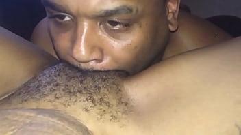 Licking sexy light skinned ebony sweet hairy pussy