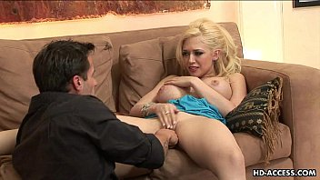 Blonde busty babe gets to be doggy style fucked preview image