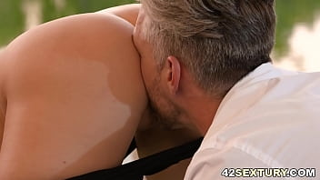 Kira Thorn enjoys her morning exercise with a dick in her ass
