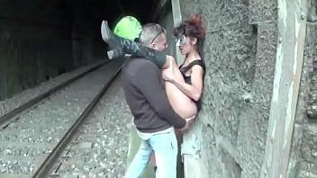 Italian slut fucked at the station swallows cum