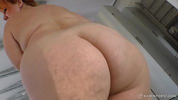 BBW mom with big ass, big boobs and hairy bush Katrin Porto is walking nude, jiggling and twerking