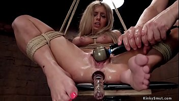 Bound blonde slave is anal fucked