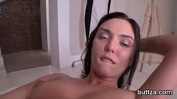 Gorgeous small chick gets her narrow pussy and skinny anal hole pounded