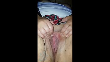 Fingering chubby pussy while playing with fuckhole