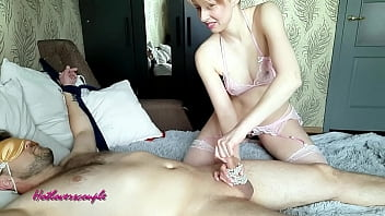 Girl tied up her friend and brought him to orgasm - Hotloverscouple