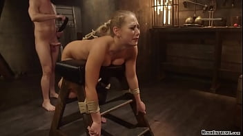 Bent over bound blonde whipped