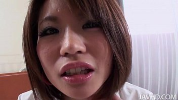 Innocent looking Miki has her hairy pussy pounded and left filled with cream