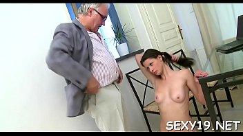 Elderly teacher is ravishing sweet babe'_s chaste pussy