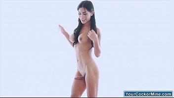 Busty asian ts Seang undresses to jerk off her cock for cum