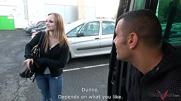 Pussy loving bitch came to van with stranger when see girl in there