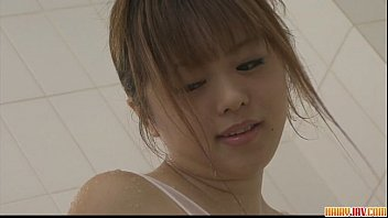 Naughty babe Noriko teasing and pussy fondling in the bathroom