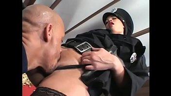 Hot light skinned black slut dressed like cop pussy fucked with black cock