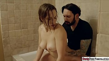 Horny couple fucking in the shower