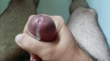 Hard penis dry handjob and cum