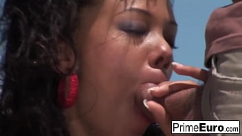 Hairy brunette Druuna takes a cock in every hole