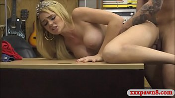 Busty amateur babe railed by pawn man at the pawnshop