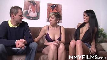 Horny Meli Deluxe sucking cock in threesome 11 min
