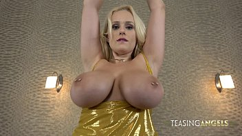 Busty blonde Angel Wicky rides a dildo and makes it cum