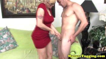 Blonde Spex Mature Tugging Hard Cock