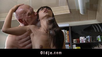 Two young girls milk mans cock - Asian teen fucking older bald teacher