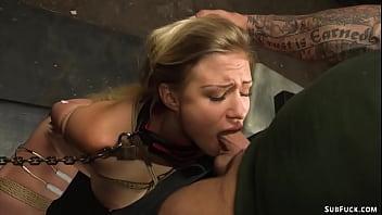 Deep throat bound slave anal banged