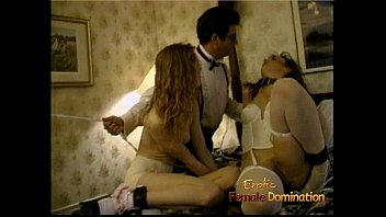 Erotic bondage used Blonde ties up two horny slags with the help of a stud